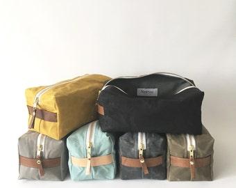 waxed canvas dopp kit / cosmetic bag