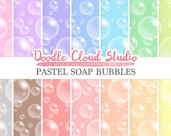 Pastel Soap Bubbles digital paper, Soap Bubbles pattern, Digital Bubbles, pastel background, Instant Download for Personal & Commercial Use