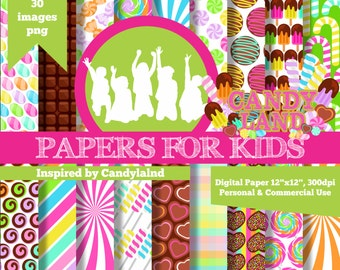 Digital Papers, Candyland, Kids, Invitation, Background, Birthday, Clipart, Papers for Kids