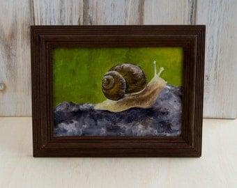 "Snail - Original 5"" x 7"" Framed Oil Painting"
