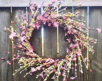 Spring Wreath, Front Door Wreath, Wreath For Door, Pink Flower Wreath, Spring Door Wreath, Wedding Wreath, Summer Wreath For Door, Wreath