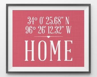 Custom Coordinates Housewarming Gift Latitude Longitude Home Address Sign Hallway Decor Foyer Wall Decor Home Coordinates Latitude Print