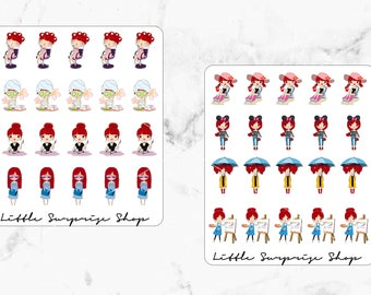 Kawaii Busy Girl Stickers// Poppy Style 7 & 8