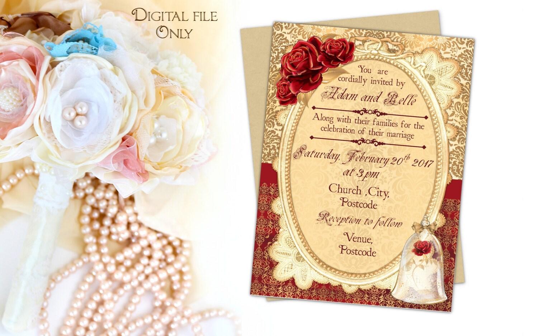 beauty and the beast invitations   etsy, Wedding invitations