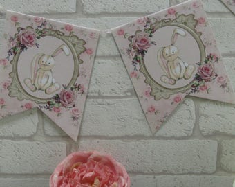 Shabby Chic Pink Bunny Rabbit Bunting Banner - Baby Shower, Party,Birthday,1st