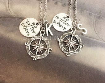 Compass Necklace, Friendship Necklace,Best Friend Necklace, No Matter Where Friends Necklace,bff necklace, , Initial Necklace
