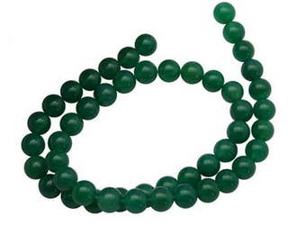 60 beads of Agate green rounds 6mm
