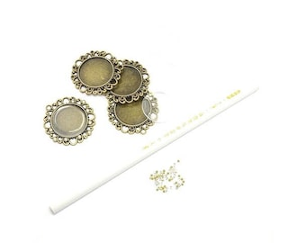 Kit 5 pendants cabochons crimp with Rhinestones and pencil