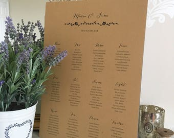 Flower Seating Plan, Table Plan, Kraft Seating Plan, A3