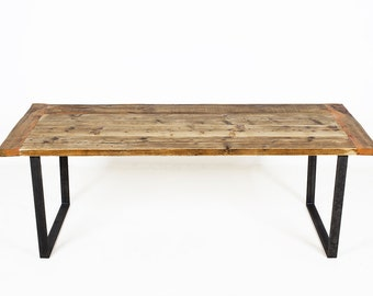 Reclaimed wood table or conference table with U shaped legs, Modern and Industrial THE BUSINESS KENT