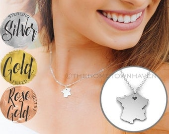 France Necklace - I heart France Jewelry, Gold fill and Rose gold fill available