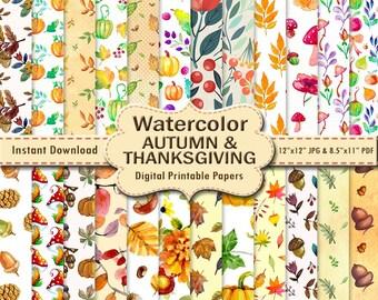 Thanksgiving Autumn Watercolor Scrapbook Paper Pack 24 Orange Brown Painting Printable Digital Paper Wrapping Leaf DOWNLOAD 12x12 JPG PDF