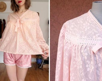 1960's Hanro Pink Lace Cape Negligée - Size S to L