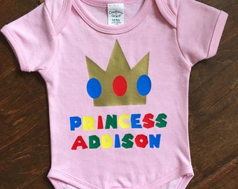 Super Mario brothers Princess Peach personalized baby bodysuit