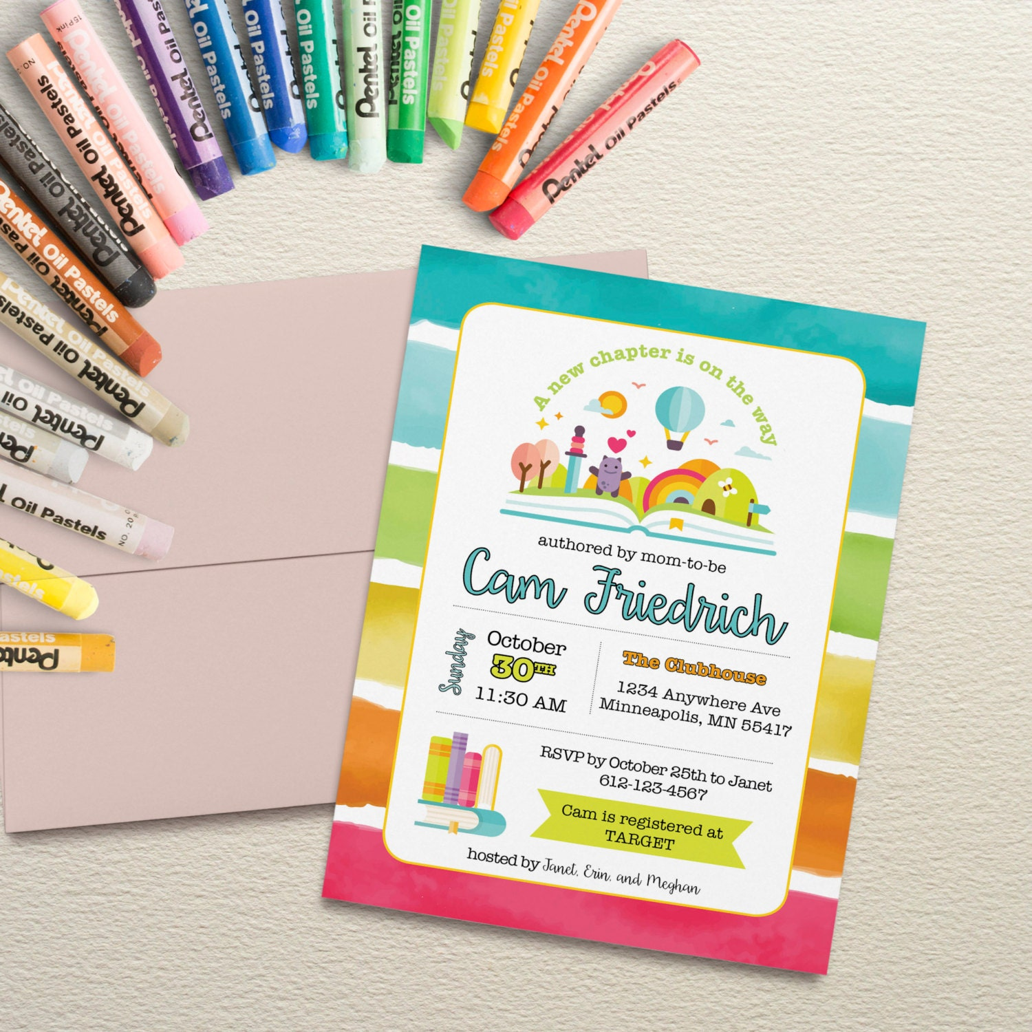 Book Baby Shower Invitation with rainbow colors. Rainbow Book