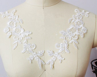 White Lace Appliques Venice Lace Flower Collars Corsage Costome Decor Lace Patches 1 pair YL526