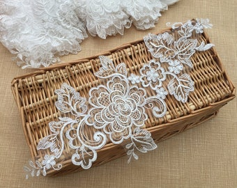 White Lace Appliques Venice Lace Flower Collars Corsage Costome Decor Lace Patches 1pair YL560