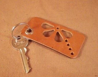 FREE SHIPPING! Brown leather  keychain decorated with hole ornament