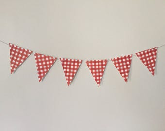 12 Flags Large Red and White Checked Banner - Red Gingham Paper Bunting - BBQ or Picnic Banner - Checkered Garland