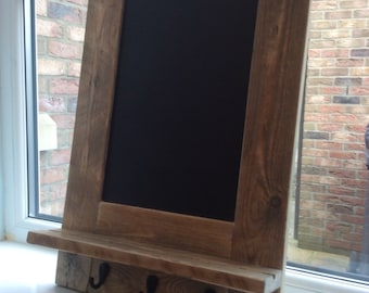 Rustic Chalkboard with Hooks made from reclaimed pallet wood