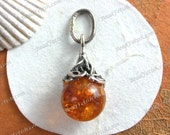 21x10mm Vintage 1990's Faceted Baltic Amber Artisian Designed 925 Sterling Silver Pendant Charm Authentic Lithuanian Baltic Amber SEM-002-6