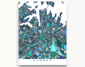 Sydney Australia, Sydney Map Print, Aussie Maps, Travel Art