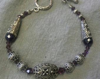 SALE! Beautiful, Amethyst & Australian Crystal Bracelet