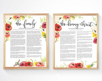 The family proclamation, the living christ, set of lds art, LDS watercolor art, LDS wall art, watercolor poppies, General Conference quote,