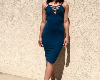 Teal Fitted Midi Dress