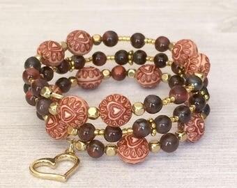 Gemstone Memory Wire Bracelet Heart Bead Memory Bracelet Beaded Cuff Bracelet Tiger Eye Stone Beaded Multi Wrap Bracelet Trendy Womens Gift