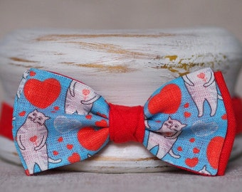 "Linen bow tie ""I love you, kitty"""