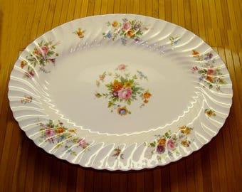 Old  flower china platter-vintage bone china floral plate-Minton Marlow England large platter-old english china