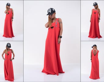 Plus size dress /Summer dress /Unique long dress / Extravagant Dress/Sleeveless dress / Casual dress