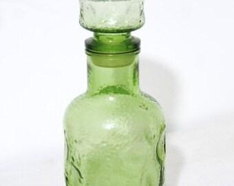 Vintage 50s green bottle color glass carafe.