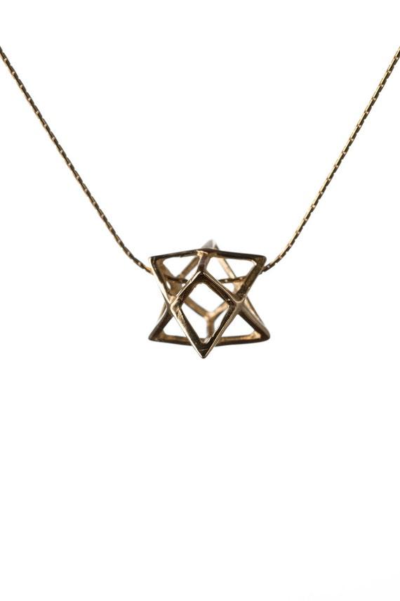 Merkaba Necklace Gold Plated 2 Microns Pendant Sacred geometry Kabbalah Jewelry Star of David 3d Seed of life  Handmade GP8