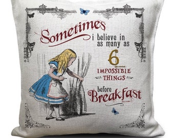 ALICE IN WONDERLAND Cushion Cover - Vintage Mad Hatter Tea Party 6 impossible things - 40cm 16 inch