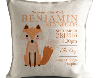 Personalised New Baby Cushion Pillow Cover - Christening Gift - Home Decor Decoration - Cartoon Fox Illustration - 40cm 16 inch
