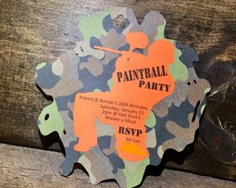 Custom Paintball Birthday Party Invitations