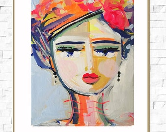 Abstract Portrait PRINT, medium, 9x12, woman portrait, Abstract Girl, orig. on canvas