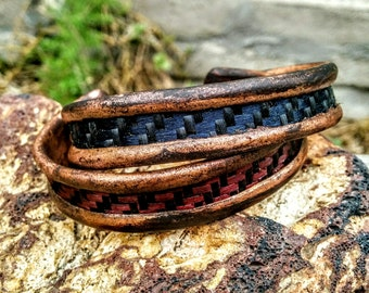 "Rustic Red Blue  Copper Cuff Bracelet. Carbon Red & Blue Kevlar Inlay.  0.5"", 0.75"" Wide."