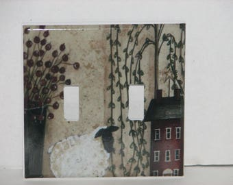 Red Salt Box House Willow Tree Lamb Double Switch Plate Light Cover Double Toggle Primitive Country
