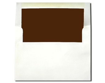 20 White with Chocolate Brown Lined Envelopes - A7 and A2 Sizes