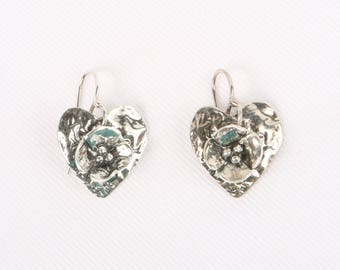 "1970's-80's Sterling Artisan Made Hearts, Flowers Wire Earrings, Excellent Cond., 1"" H X 11/16"" W., Marked Sterling, Illegible Name."