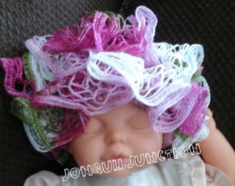Ruffle Baby hat, infant hat, hand crocheted hat, baby Photo prop hat, spring baby hat, baby girls hat, crocheted baby hat, Pink baby hat,HAT