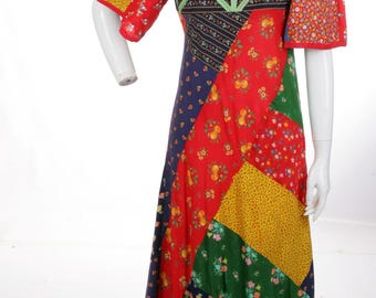 FREE US SHIPPING Exquisite Vintage Patchwork Hippie Maxi Dress