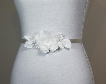 Bridal sash, Flower bridal belt, wedding sash,  Flower wedding belt, Ivory bridal sash, Floral bridal belt, thin bridal sash