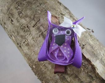 NEW purple owl ribbon art hair clip