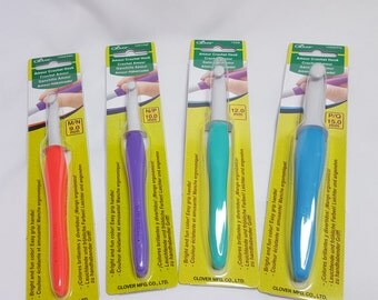 CLOVER AMOUR Crochet hooks, 2-15mm, various sizes, bright colours
