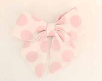 Bubble gum polka dot sailor bow