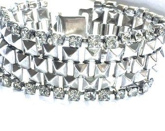 Kirks Folly Silver Rhinestone Bracelet, Wide Silver Tone, Flexible Mesh Link, Clear Rhinestone, Vintage 1980's, Signed, Kirks Folly Jewelry